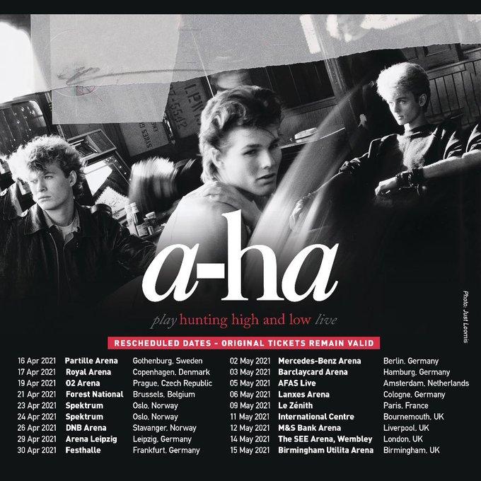 a-ha,ヨーロッパのライブをリスケ。11月のオスロライブは来年4月に延期